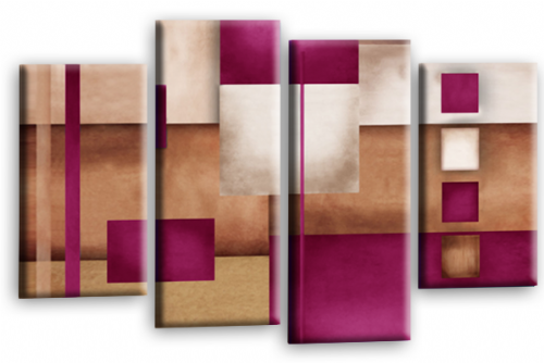 Abstract Canvas Wall Art Plum Grey Cream Picture Print